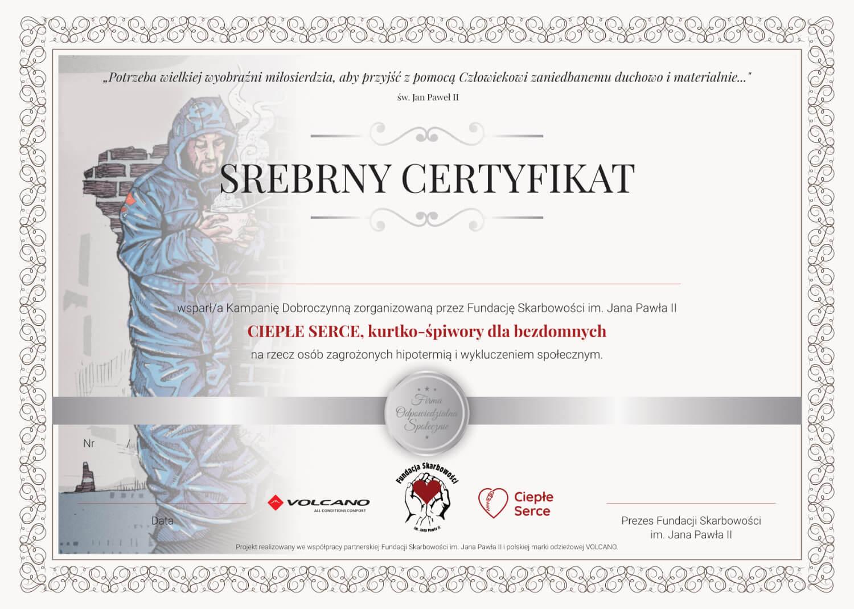 CERTYFIKAT srebrny - za przekazanie darowizny na 4 - 9 kurtek